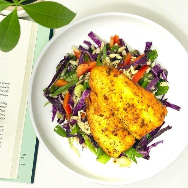 Tilapia with Orzo Salad